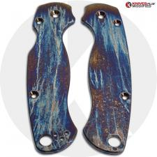 MODIFIED Flytanium Titanium Scales for Spyderco Para Military 2 Knife - MAYHEM FINISH
