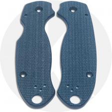 KP Custom Micarta Scales for Spyderco Para 3 Knife - Blue Linen - Ambi - Tip Up