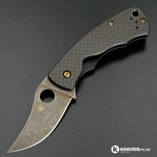 MODIFIED Spyderco Rhino C210CFP Knife - Acid Stonewash - Heat Bronzed Hardware