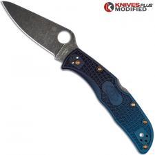 MODIFIED Spyderco K390 Endela Knife - Acid Stonewash - Heat Color Hardware - Rit Dye Fade