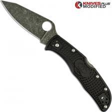 MODIFIED Spyderco Endela Knife - Acid Stonewash - Regrind - Black Handle