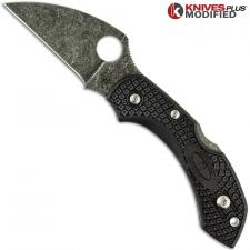 MODIFIED Spyderco Dragonfly 2 - Wharncliffe - Acid Stonewash - Black Handle