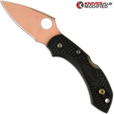 MODIFIED Spyderco Dragonfly 2 Knife - CopperWash - Black Handle