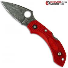 MODIFIED Spyderco Dragonfly 2 - The Red Dragon - ACID WASH - Cherry Red Handle