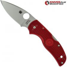 MODIFIED Spyderco Native 5 - The Red Dragon - Satin - Rit Dyed Handle