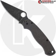 MODIFIED Spyderco Para Military 2 Maxamet Knife with Acid Stonewash + KP Titanium Blasted Tumbled Scales + KP All Black Hardware