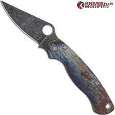 MODIFIED Spyderco Para Military 2 Knife with Acid Stonewash + Titanium Flytanium Scales MAYHEM FINISH