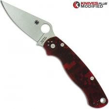 MODIFIED Spyderco Para Military 2 - Red Digital Camo - Satin Blade - Rit Dyed Handle
