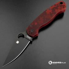 MODIFIED Spyderco Para Military 2 - Red Digital Camo - DLC Blade - Rit Dyed Handle
