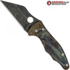 MODIFIED Spyderco Yojimbo 2 Knife with Acid Stonewash & Titanium Flytanium Scales - MAYHEM FINISH
