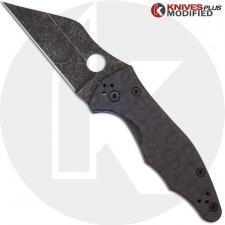 MODIFIED Spyderco Yojimbo 2 Knife with Acid Stonewash Blade + KP Damascus Pattern Carbon Fiber Scales + KP All Black Hardware