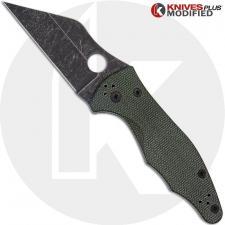 MODIFIED Spyderco Yojimbo 2 Knife with Acid Stonewash Blade + KP OD Green Micarta Scales + KP All Black Hardware