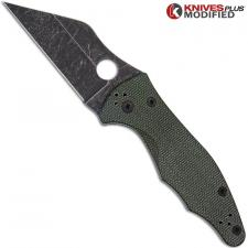 MODIFIED Spyderco Yojimbo 2 Knife with Acid Stonewash Blade + KP OD Green Micarta Scales + KP All Black Hardware