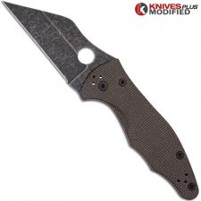 MODIFIED Spyderco Yojimbo 2 Knife with Acid Stonewash Blade + KP Brown Micarta Scales + KP All Black Hardware
