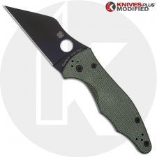MODIFIED Spyderco Yojimbo 2 Black DLC Knife + KP OD Green Micarta Scales