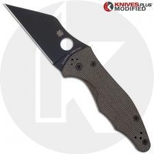 MODIFIED Spyderco Yojimbo 2 Black DLC Knife + KP Brown Micarta Scales