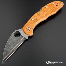 MODIFIED Sprint Run Spyderco Delica 4 - Acid Stonewash HAP40 - Burnt Orange Handle