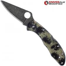 MODIFIED Spyderco Delica 4 Knife - Glow In The Dark Zome - Acid Stonewash