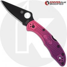 MODIFIED Spyderco S30V Delica Knife - Black TiCN Blade - Purple Fade