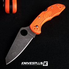 MODIFIED Spyderco Delica 4 - Acid Wash - Regrind - Orange Handle/Black Backspacer
