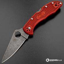 MODIFIED Spyderco Delica 4 - The Red Dragon - Acid Wash - Rit Dyed Handle