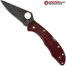 MODIFIED Spyderco Delica 4 - The Ron Burgundy - Acid Wash - Rit Dyed Handle