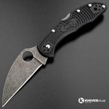 MODIFIED Spyderco Delica 4 - Wharncliffe - Acid Wash - Black Handle