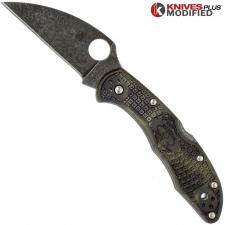 MODIFIED Spyderco Delica 4 - Wharncliffe - Acid Wash - Zome Handle