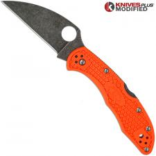 MODIFIED Spyderco Delica 4 - Wharncliffe - Acid Wash - Orange Handle