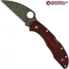 MODIFIED Spyderco Delica 4 - The Ron Burgundy - Wharncliffe - Acid Wash - Rit Dyed Handle
