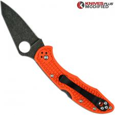 MODIFIED Spyderco Delica 4 - Acid Wash - Regrind - Orange Handle