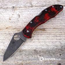 MODIFIED Spyderco Delica 4 - S30V - Acid Stonewash - Regrind - Red and Black Zome - Rit Dye Handle