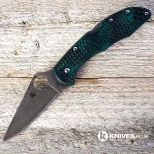 MODIFIED Spyderco Delica 4 - S30V - Acid Stonewash - Forest Zome - Rit Dye Handle