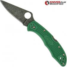 MODIFIED Spyderco Delica 4 - Acid Wash -  Green Handle/Green Backspacer
