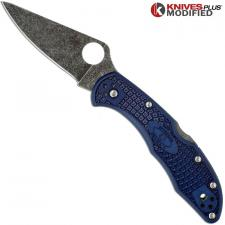 MODIFIED Spyderco Delica 4 - Youre My Boy Blue - Acid Wash - Rit Dyed