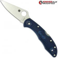 MODIFIED Spyderco Delica 4 - Youre My Boy Blue - Satin - Rit Dyed