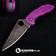 MODIFIED Spyderco Delica 4 - Acid Wash -  Purple Handle/Green Backspacer