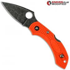 MODIFIED Spyderco Dragonfly 2 - ACID WASH - Orange Handle