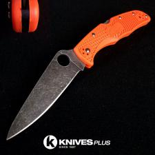 MODIFIED Spyderco Endura 4 - ACID WASH - Orange Handle/Black Backspacer
