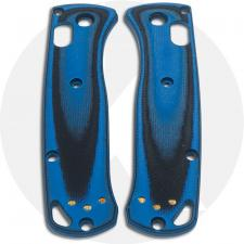 KP Custom G10 Scales for Benchmade Mini Bugout Knife - Black / Cobalt Blue - Contoured - Smooth Surface