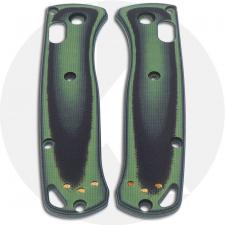 KP Custom G10 Scales for Benchmade Mini Bugout Knife - Black / Zombie Green - Contoured - Smooth Surface