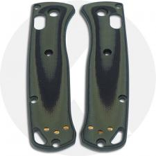 KP Custom G10 Scales for Benchmade Mini Bugout Knife - Black / OD Green - Contoured - Smooth Surface