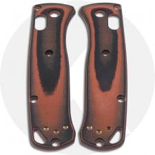 KP Custom G10 Scales for Benchmade Mini Bugout Knife - Black / Orange - Contoured - Smooth Surface