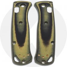 KP Custom G10 Scales for Benchmade Mini Bugout Knife - Black / Chrome Yellow - Contoured - Smooth Surface