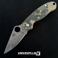 MODIFIED Spyderco Para 3 Knife ACID WASH Blade Camo G10