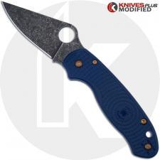 MODIFIED Spyderco Para 3 SPY27 Knife - Acid Stonewash Blade - Heat Color Hardware