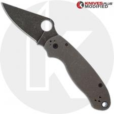 MODIFIED Spyderco Para 3 Maxamet Knife with Acid Stonewash + KP Titanium Blasted Tumbled Scales + KP All Black Hardware - The RH