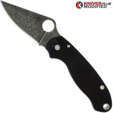 MODIFIED Spyderco Para 3 Knife ACID WASH Blade Black G10