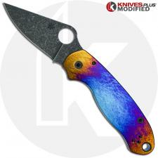 MODIFIED Spyderco Para 3 Knife ACID WASH Blade Black G10