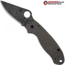 MODIFIED Spyderco Para 3 Knife with Acid Stonewash Blade + KP Dark Brown Micarta Scales + All Black Hardware